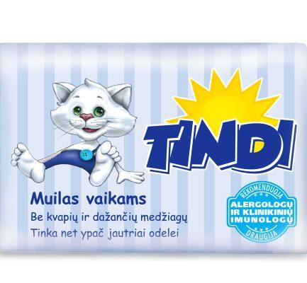 TINDI muilas vaikams be kvapių ir dažančių medžiagų ypač jautriai odai (90 g)