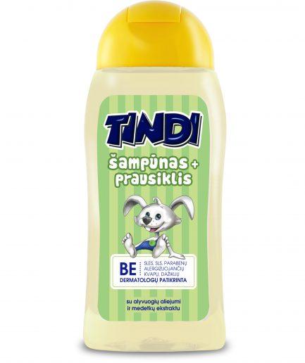 TINDI šampūnas ir prausiklis vaikams 2in1 su alyvuogių aliejumi ir medetkų ekstraktu (210ml)