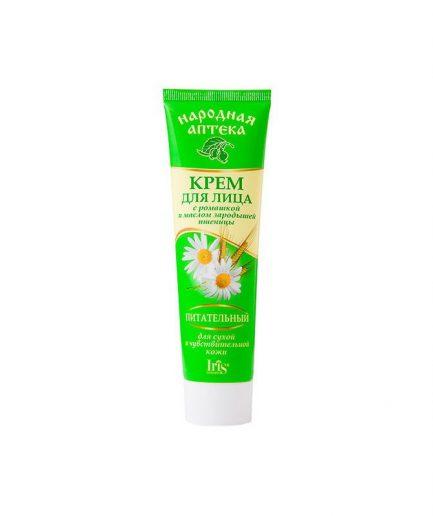 Efektyviai maitina ir drėkina odą. Kviečių gemalų aliejus stimuliuoja medžiagų apykaitą ir odos atsinaujinimą, tonizuoja, stangrina ir stiprina apsaugines odos savybes. Ramunėlių ekstraktas pasižymi antiseptiniu poveikiu, padeda nuraminti ir atnaujinti sudirgintą odą. Reguliariai naudojant oda taps stangresnė ir švelnesnė. NAUDOJIMO BŪDAS:švelniai patepkite švarią veido ir kaklo odą Pagaminta: Baltarusijoje