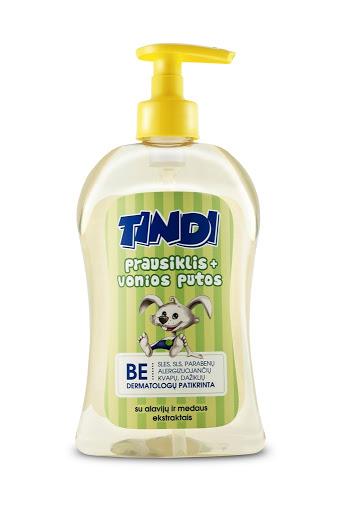 TINDI prausiklis ir vonios putos vaikams su alavijų ir medaus ekstraktais (500 ml)